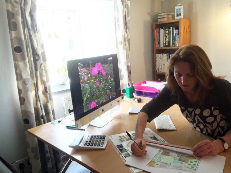Kim designing a garden